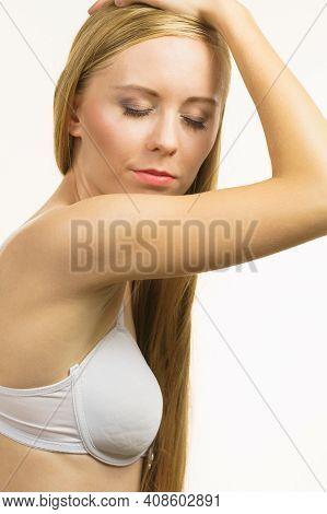 Girl Long Hair Wearing Bra
