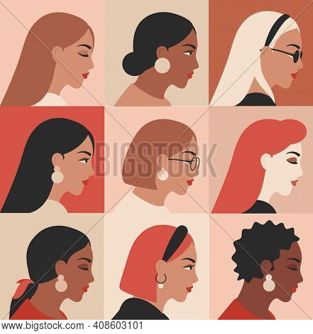 Female Portraits Of Different Nationalities, Ethnicity. Girls Profile Faces Avatars Vector Collectio