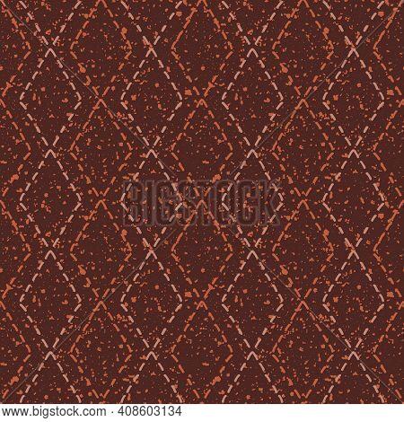 Diamond Stitch Effect Seamless Vector Pattern Background. Modern Needlework Abstract Terrazzo Grunge