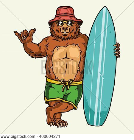 Surfing Vintage Concept With Funny Bear In Shorts Sunglasses Panama Hat Showing Shaka Sign And Stand