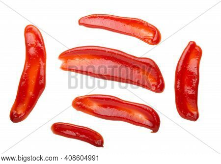 Red Tasty Ketchup Or Sauce Isolated On White Background