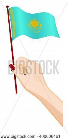 Female Hand Gently Holds Small Flag Of Republic Of Kazakhstan. Holiday Design Element. Cartoon Vecto