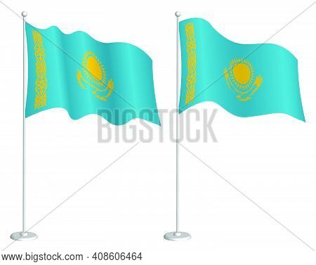 Flag Of Republic Of Kazakhstan On Flagpole Waving In Wind. Holiday Design Element. Checkpoint For Ma