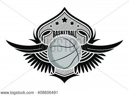 Sport Ball On Background Of Stylized Shield With Wings. Basketball  Sporting Emblems. Tournament Sym