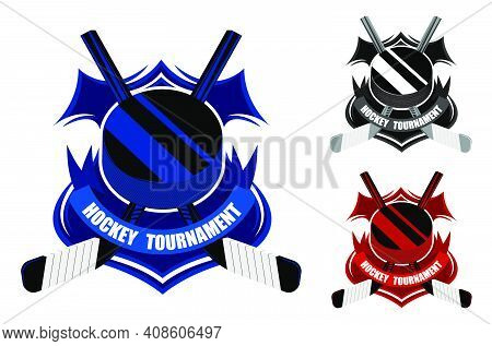 Ice Hockey Sporting Emblems. Sport Black Rubber Puck And Crossed Sticks For Ice Hockey On Background