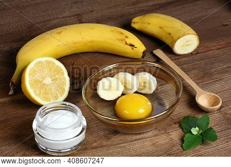 Perfect Ingredients For Homemade Facial Mask. Good Against Wrinkles. Yolk, Banana, Heavy Cream And A