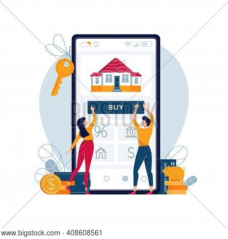 Buying A House Online Vector Illustration. Couple Touching The Button On Smartphone Screen, Buy A Ho