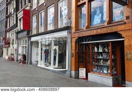 Amsterdam, Netherlands - July 10, 2017: Antique Shop At Rokin Street In Amsterdam, Netherlands. Amst