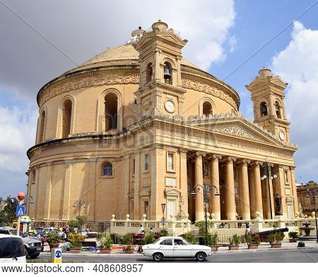 La Valletta - Malta - September 10, 2011: The Church Of Santa Maria Assunta Di Mosta