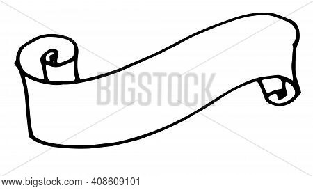 Line Art Doodle Ribbon Vintage For Decoration Design.vector Is A Set Of Isolated Elements Of Twisted