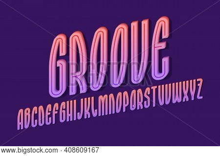 Volumetric Alphabet Of High Pink Purple Letters With Middle Groove. 3d Display Oblique Font. Isolate