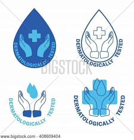 Dermatologically Tested, Label With Water Drop And Cross. Dermatology Test And Dermatologist Clinica