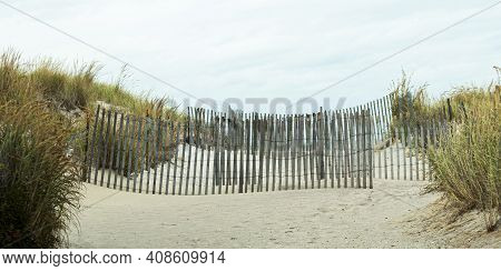 Entrance To The Beach At Robert Moses State Park Blocked By Wooden Picket Fences On Fire Island New