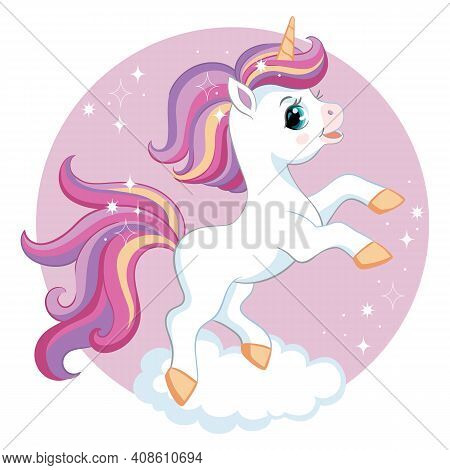 Cute Cartoon Unicorn With Purple Mane On Cloud. Vector Isolated Illustration. For Postcard, Posters,