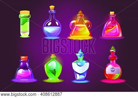 Bottles Of Magic Potions Set. Cartoon Jars With Love Elixir, Glass Chemical Vials With Corks On Dark