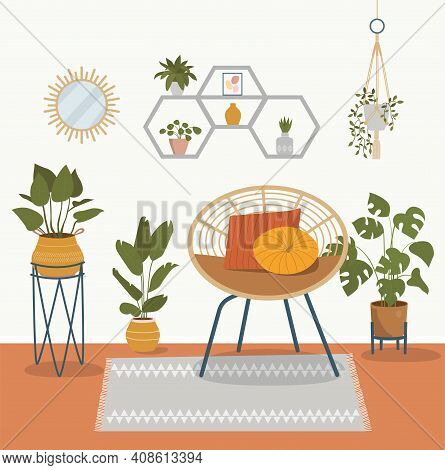 Comfortable Rattan Chair And House Plants. Vector Flat Style Cartoon Illustration