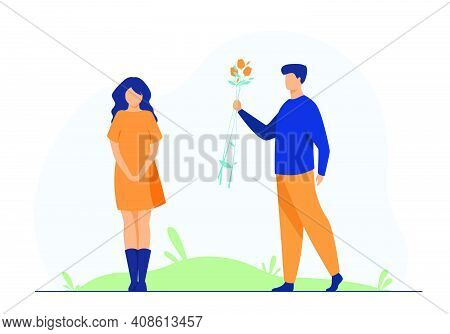 Couple Dating Outdoors. Guy Giving Flowers To Girlfriend. Flat Vector Illustration. Love, Romance, R