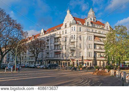 Berlin, Germany - November 23, 2020: Street Torfstrasse On The North Bank Of The Berlin-spandau Ship