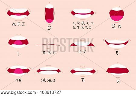 Creative Mouth Sync Flat Set For Web Design. Cartoon Talking Mouths Lips For Character Animation Iso
