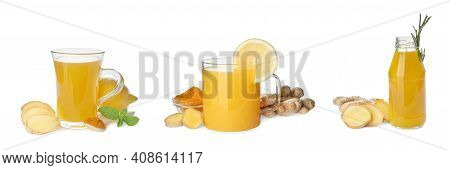 Set Of Immunity Boosting Drink With Lemon, Ginger And Turmeric On White Background, Banner Design