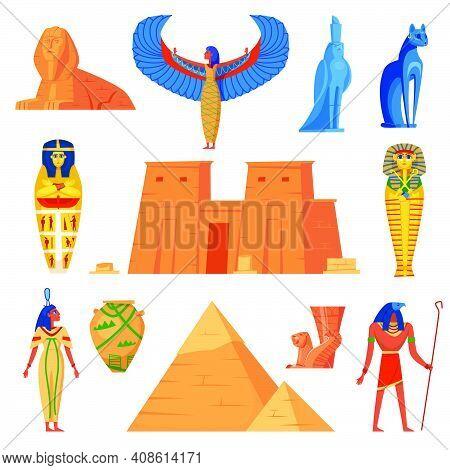 Egyptian History Characters Set. Ancient Egypt Symbols, Cat, Iris, Deity With Bird Headpiece, Horus,