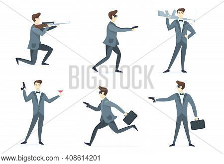 Emissary Man Adventures Set. Secret Spy Agent Aiming Weapon, Using Gun, Drinking Cocktail. Vector Il