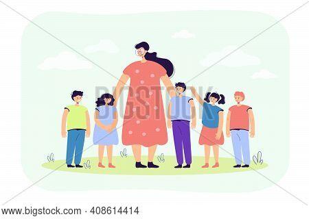 Female Teacher And Kids Walking Outdoors. Woman Watching Group Of School Children On Grass. Vector I