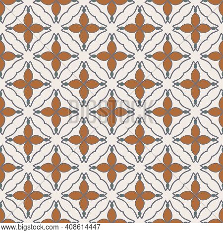 Seamless Pattern From Square Ceramic Tiles, Rhombuses. Portuguese, Spanish Or Moroccan Traditional N