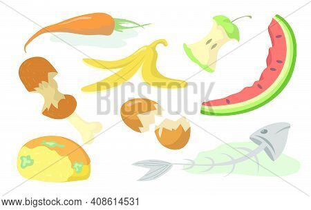 Food Trash Set. Rotten Fruits, Vegetables, Meat, Fish And Bread Organic Waste Isolated On Shite Back