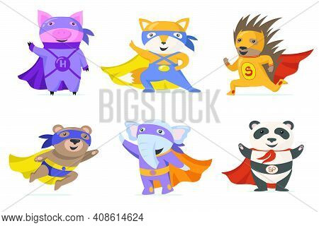 Funny Superhero Animals Flat Set For Web Design. Cartoon Pig, Fox, Bear, Elephant, Panda And Hedgeho