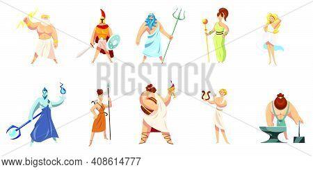 Greek Mythology Characters Collection. Athena, Hephaestus, Ares, Poseidon, Zeus, Dionysus, Hephaestu