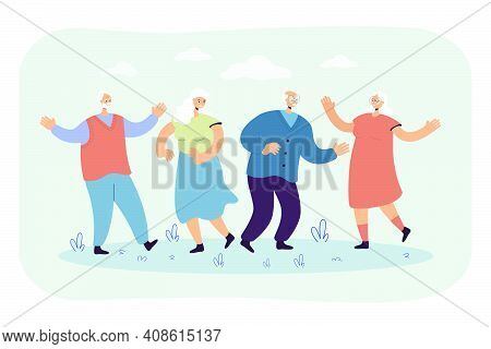 Happy Senior People Enjoying Outdoor Party. Group Of Mature Friends Celebrating Event, Having Fun To