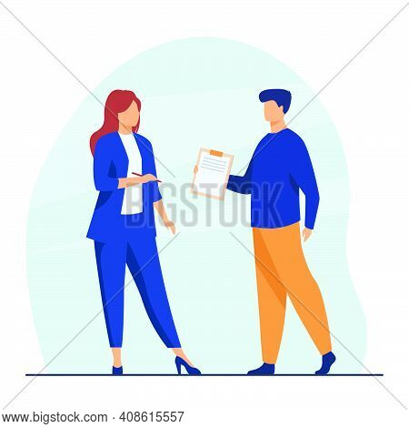 Manager Giving Document To Female Boss For Signing. Leader, Male Assistant, Agreement. Flat Vector I