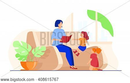 Mom Reading Book To Children At Home. Mother Telling Little Children Fairytale. Flat Vector Illustra
