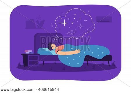 Peaceful Man Sleeping In Bedroom, Resting In Bed, Dreaming Space. Vector Illustration For Healthy Sl