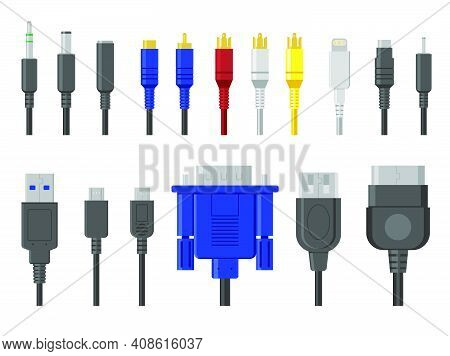 Plug Contacts Set. Cables, Wire Connectors, Connection For Ethernet, Hdmi, Vga, Usb, Video, Audio Po