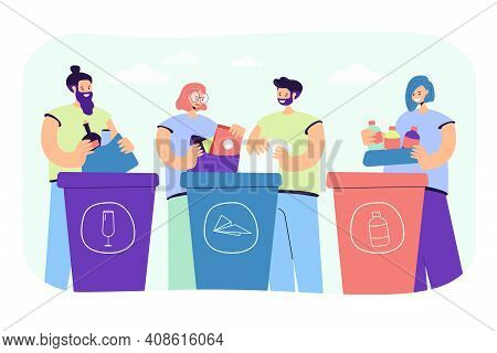 Positive People Sorting Trash Isolated Flat Vector Illustration. Cartoon Characters Standing Near Du