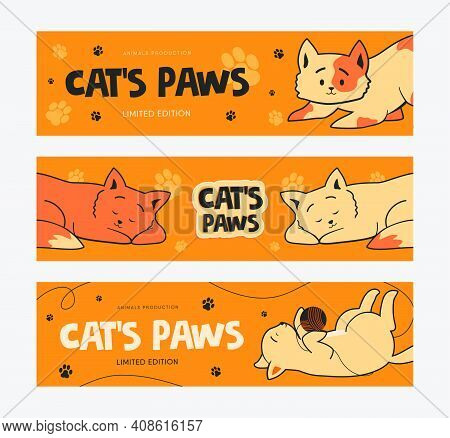 Promotional Banner Designs With Funny Cats. Orange Banners On Orange Background With Kitty Paws. Pet