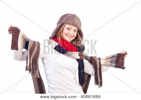 Beautiful woman wearing different scarfs and hat