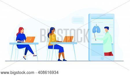 Student Girls Learning Medicine Online. Tutor Giving Webinar, Human Organs Chart. Flat Vector Illust