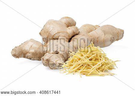 Isolated Shredded Ginger. Fresh Ginger Root Rhizome With Shredded Ginger On White Background, Herb M