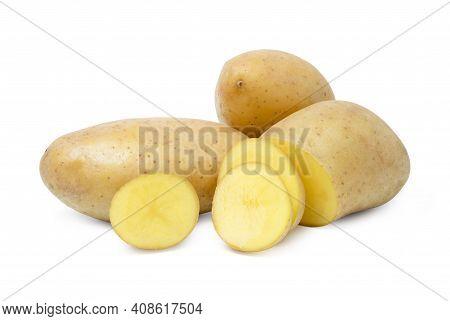 Isolated Potato. Whole Potato And Cut Raw Potato Vegetables On White Background. Harvest New. Flat L