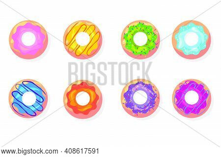 Top View Of Colorful Donuts Flat Item Set. Cartoon Glazed Doughnuts With Pink, Blue, Green Icing Iso