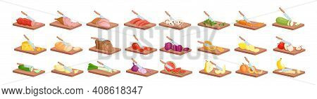 Cooking Food Process Isometric Knife Processing Fresh Meat Fish Bread Vegetables Fruits