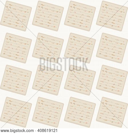 Illustration For The Jewish Passover, Seamless Pattern Of Matzah - The Traditional Food Of The Holid
