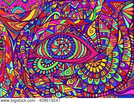 Trippy Hippie Rainbow Psychedelic Shamanic Eye With Colorful Bizarre Ornaments Fantastic Background.