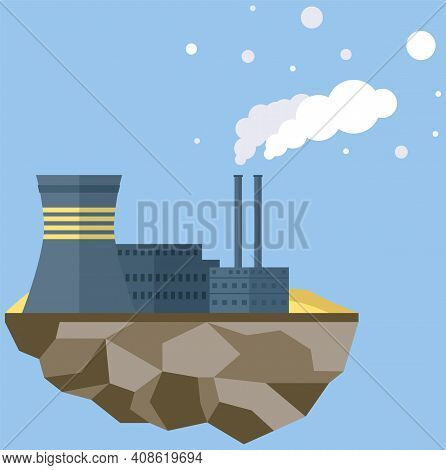 Manufacture Pollutes Atmosphere. Plant Isolated On Piece Of Land. Building Destroying Environment An