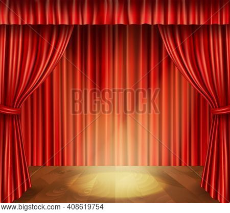 Theater Stage With Wooden Floor Red Velvet Retro Style Curtain And Spotlight Background Vector Illus