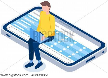 Man Working Or Studying On Laptop Vector Illustration. Guy Sitting On Mobile Phone Screen. Online Le