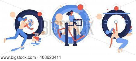 Letters O Collection With Women Training And Having Active Lifestyle. Outdoor Gym, Obstacle Course R